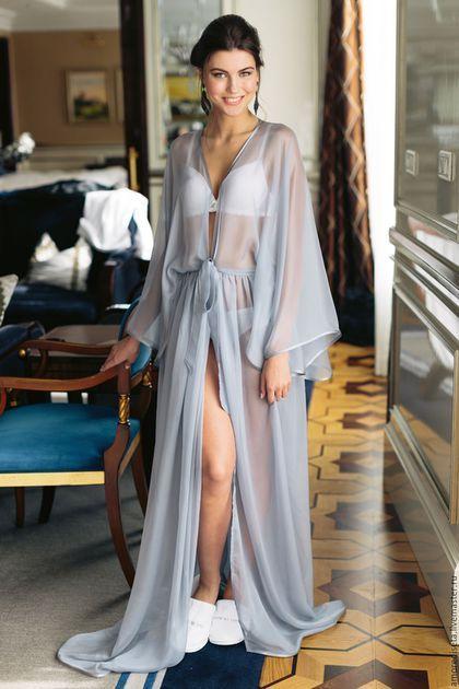 Купить или заказать Серый шифоновый пеньюар, женский халат в интернет-магазине на Ярмарке Мастеров. Предлагаю вам купить пеньюар из ткани знаменитого брэнда Армани Идеальное качество пошива и ручная работа - все в лучших традициях итальянского хэн-мэйда для вас! Такой женский халат очень часто берут в подарок на свадьбу, девушке как свадебный халат для невесты или домашний женский халат для дальнейшего пользования! Доступны любые другие цвета по вашему заказу!