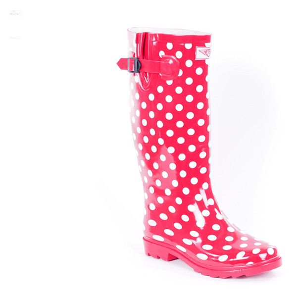 Women's Forever young Polka dot RAIN boots 6 MA ($30) ❤ liked on Polyvore featuring shoes, boots, boots & booties, red, red polka dot shoes, red rubber boots, forever young boots, polka dot shoes and wellies boots