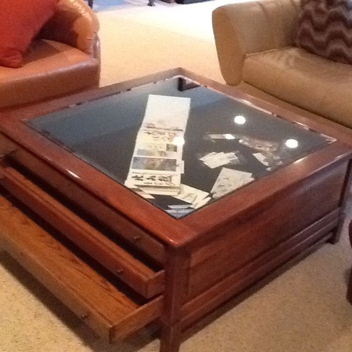 40 x 40 x 18 glass top 3 drawer display map coffee table quality hardwood tops coffee Display coffee table with glass top