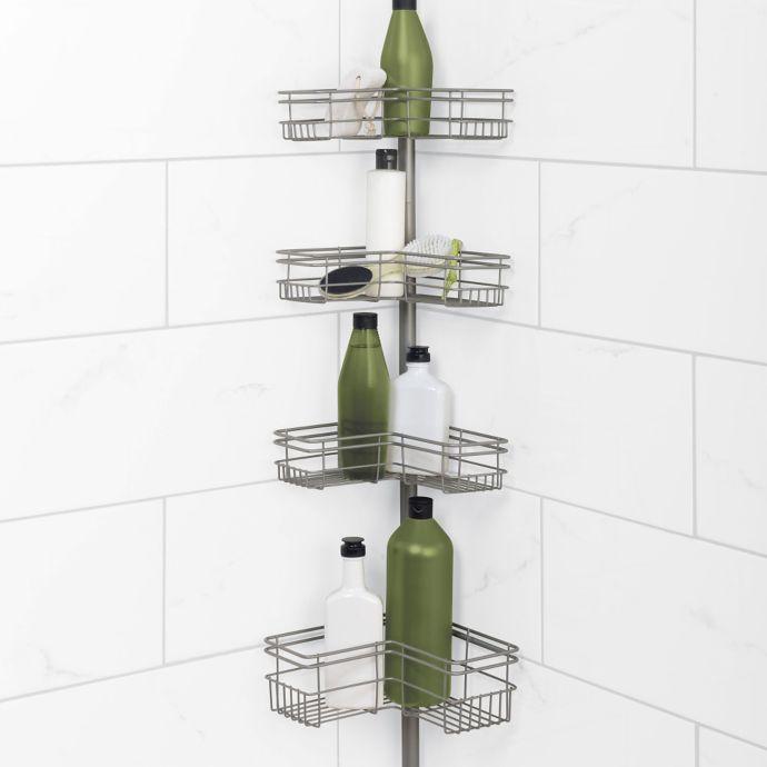 Zenna Home Tension Corner Pole Shower Caddy In Satin Nickel Bed