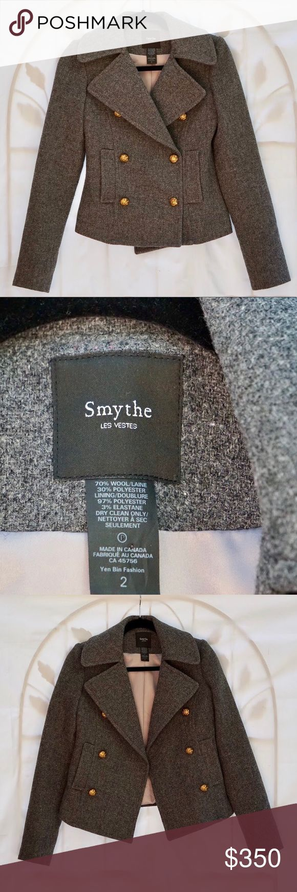 Smythe Les Vestes wool gray jacket pea coat Perfect condition high quality wool pea coat. Only small signs of wear on the buttons - see last photo. Smythe Jackets & Coats Pea Coats