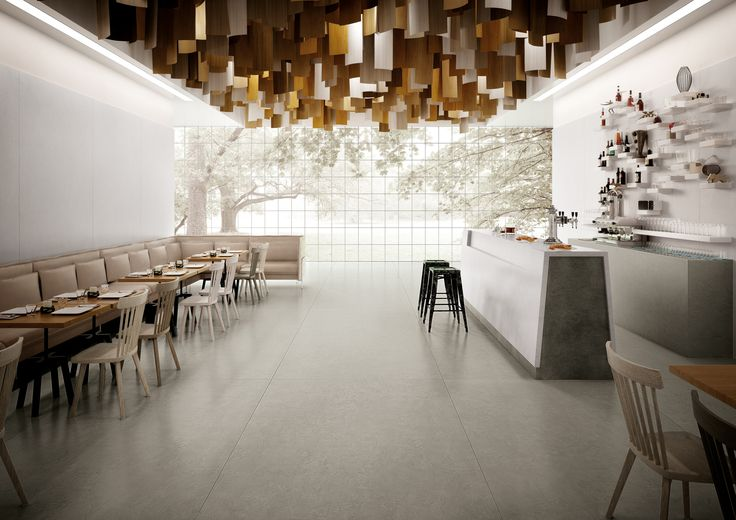 AVA Ceramica - EXTRAORDINARY SIZE Collection - Made in Italy - www.avaceramica.it #grey #white #restaurant