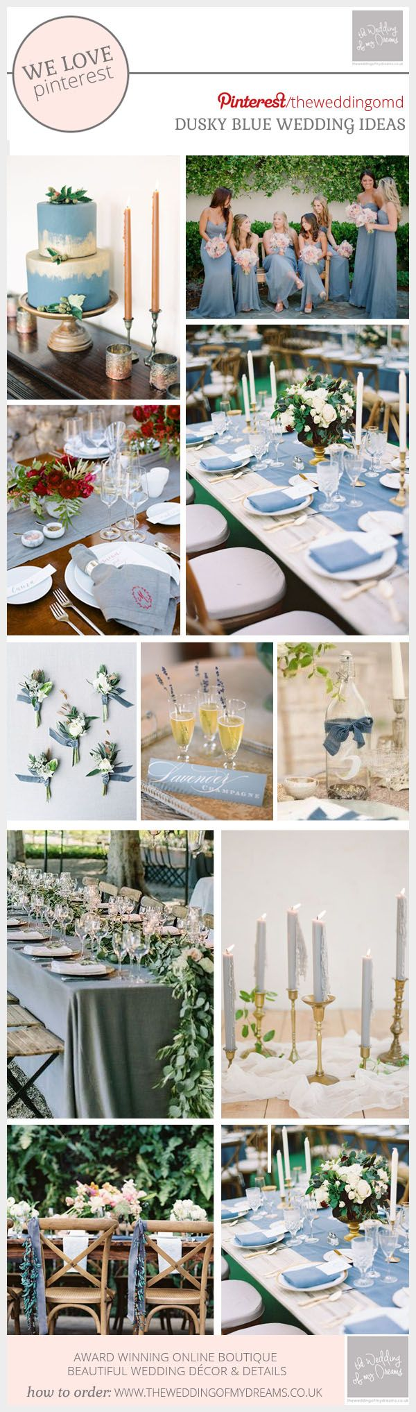 We are seeing more and more couples adding a hint of dusky blue to their wedding color palette and we love it. The soft dusky blue tone can be mixed with other shades of blue for an all blue wedding color scheme, or perhaps mix it with other colors