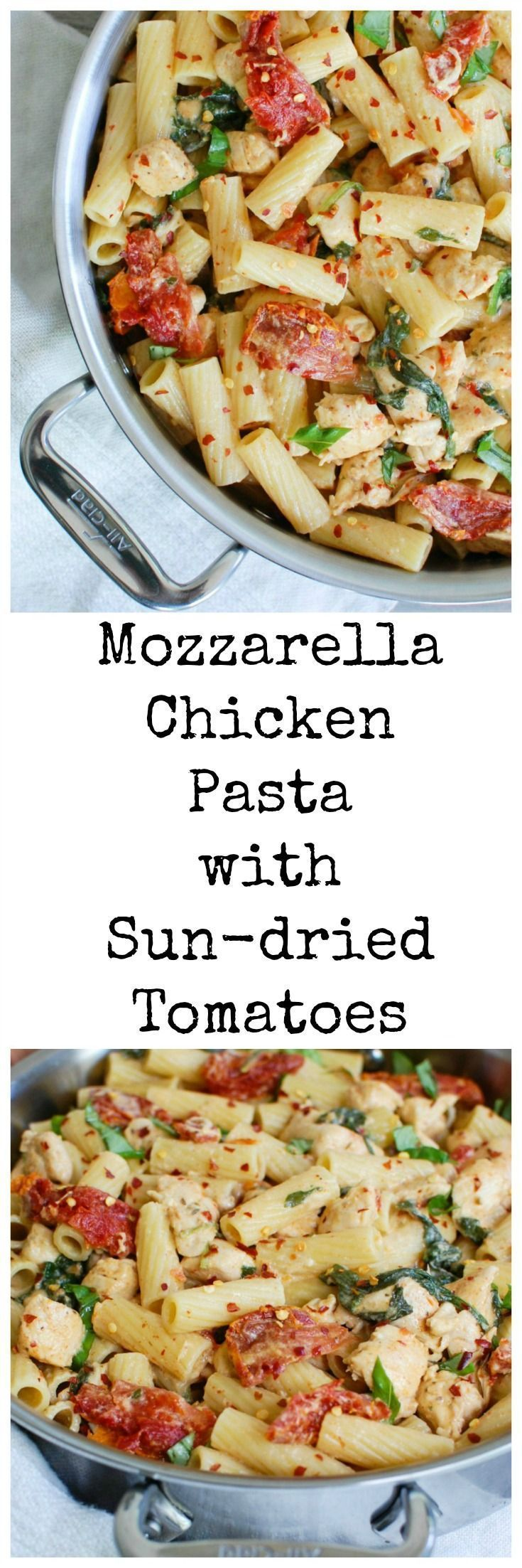Mozzarella Chicken Pasta with Sun-dried Tomatoes comes together in 30 minutes. Tender chicken is mixed with fresh spinach and herbs, sun-dried tomatoes and a creamy sauce over your favorite pasta. // A Cedar Spoon