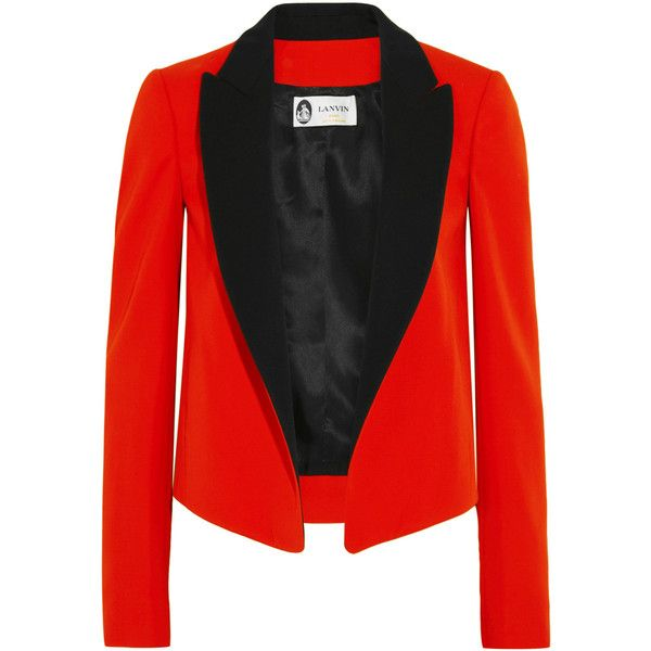 Lanvin Two-tone wool-twill tuxedo jacket (14,760 CNY) ❤ liked on Polyvore featuring outerwear, jackets, blazers, red, wool jacket, wool blazer, red dinner jacket, red wool jacket and red blazers