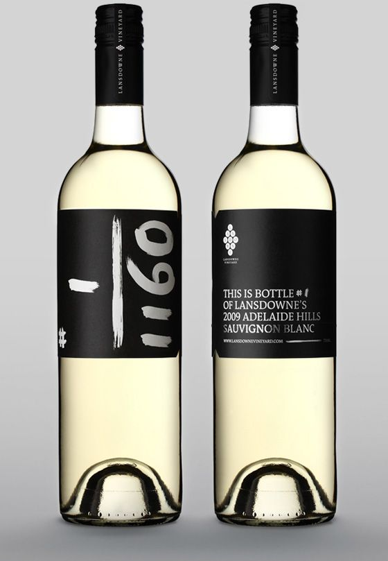 Unique wine label and wine packaging design collection for a short run of Lansdowne 2009 Sauvignon Blanc, designed by Tass Gyeness. I'd love to have number 8 of 1160!