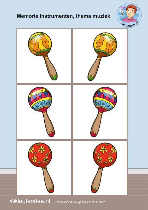 Muziekinstrumenten memorie 2, thema muziek,  kleuteridee.nl, Kindergarten music memory game, free printable.