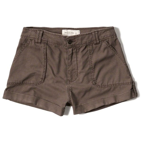 Abercrombie & Fitch Military Shorts ($16) ❤ liked on Polyvore featuring shorts, pants, brown, military style shorts, abercrombie & fitch, brown shorts, lightweight shorts and military fashion