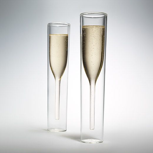 The Inside Out Champagne Glasses ($70 for two) from the MoMA store feature a modern design: exteriors shaped like a water glass and an interior styled like classic champagne flutes.