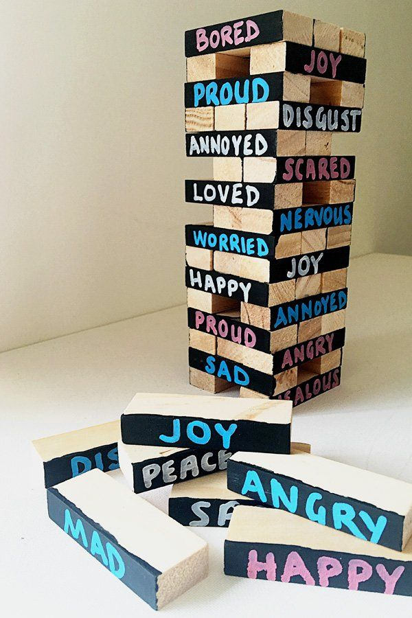 Help children learn to identify big emotions and their triggers with this fun twist on the game of Jenga
