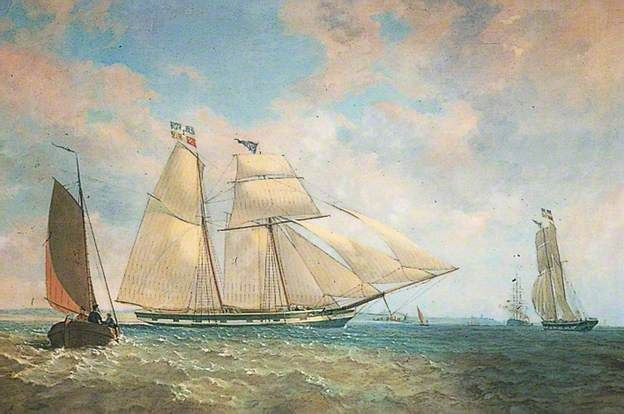 Topsail Schooner 'Commodore',   by W. Dunnage, 1843.  Gravesham Borough Council