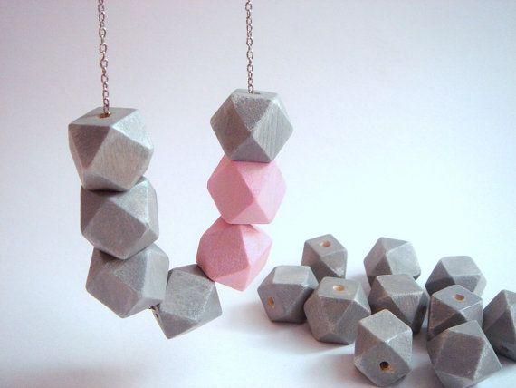 Pastel Geometric Wood BeadsHand Painted wood Beads  by LiKeBeads8, $11.50
