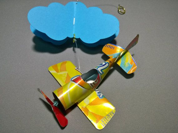 Mini mobile airplane soda can handcrafted.8 by JCwings on Etsy