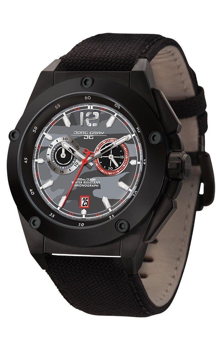 Jorg Gray JG8800-22 Mens Watch Black Camo Dial Chrono Black Canvas Leather Strap