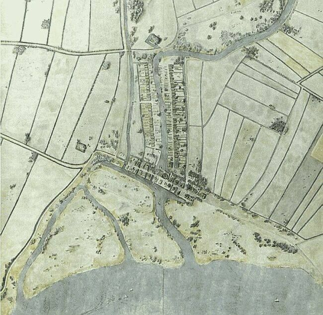 Op deze kaart uit 1340 zien we de dam in de Rotte. Als we de Rotte volgen naar het noorden, zien we net boven de bocht naar rechts een kasteel liggen, helemaal omgeven door een vierkant water. Het kasteel had de naam Het Hof van Weena. Linksonder de Westzeedijk, middenonder de dam in de Rotte ( Hoogstraat) en rechtsonder de Oostzeedijk. De singel links van de Rotte is de Coolvest. Later na de demping (1914) de Coolsingel.