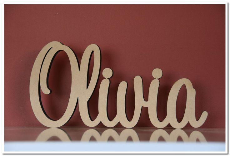 Custom Made Freestanding Wooden Name Olivia In Raw