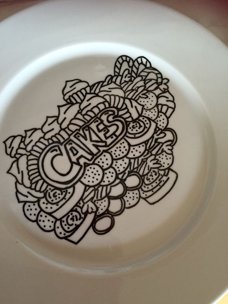 Cake plate in doodleart