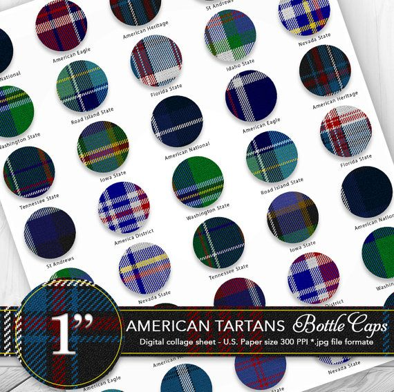 Bottle caps 1 clipart/American tartans by CornucopiaArtDesign