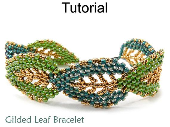 Jewelry Making Tutorials and Patterns – Beaded Leaf Bracelet – Russian Leaves – Diagonal Peyote Stitch – Gilded Leaf Bracelet #150