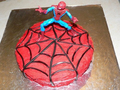 Spiderman Web Cake Decorated With Red Icing Black