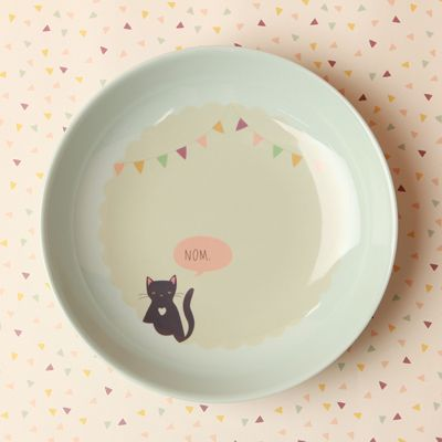 Melamine Dinner Plate - Kitty Nom: Kitty Cats, Cat Bowl, Prints Patterns, Cats 3, Kitty Plates, Deep Plates, Cat Plates, Print Patterns, Kids Design