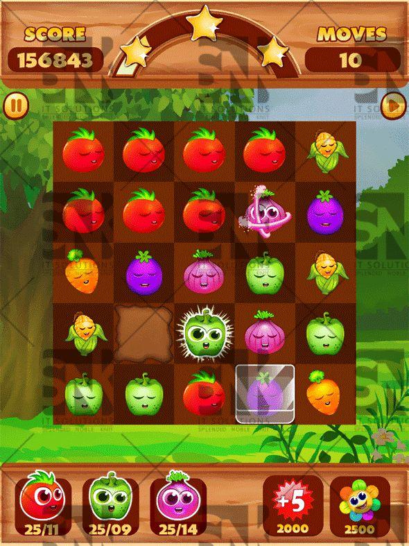 Veggies Splash: Connect Veggies Puzzle Game UI Kit (Game Kits)