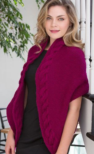 Free Knitting Pattern for Reversible Cable Wrap -Knit from end to end, Tamara Goff's  triangular wrap features a luxurious cable along the neck edge.