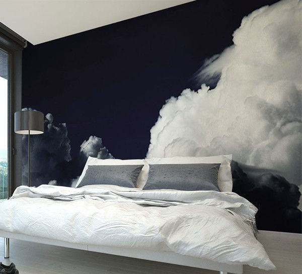 bedroom wall mural - white clouds on black