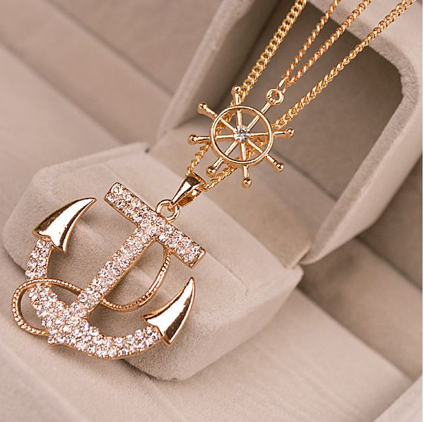 2016 Fashion Style Crystal Gold Double Sweater Necklace Chain Anchor Sweater Necklaces & Pendants