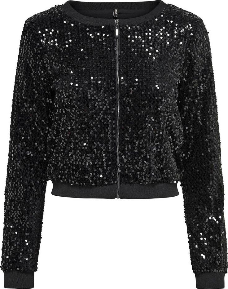 Pailletten-Jacke von ONLY, schwarz.