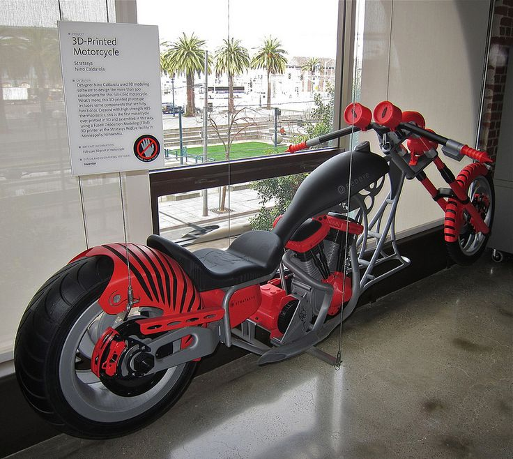 Full sized 3D printed motorcycle model, printed at the Stratasys RedEye facility.  Some parts are functional.