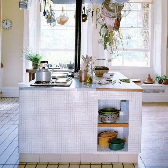 Terence Conran house; island, tile, white, rustic modern, country, natural; Photograph by Paul Massey via Living Etc