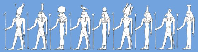 some of the ancient egypt gods: Atum, Shu,  Tefnut, Geb, Nut, Osiris, Isis, Seth, Nephthys