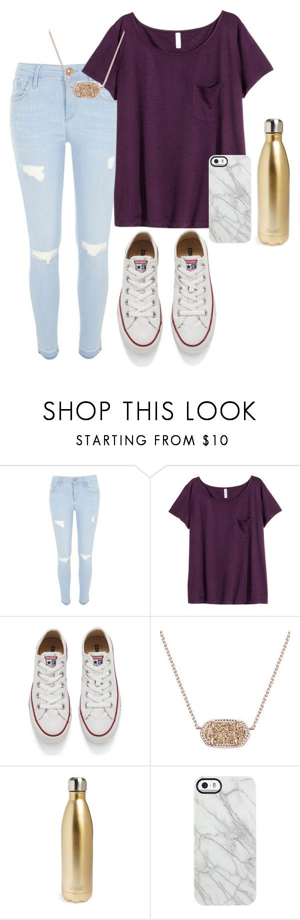 """""""Casual date"""" by sadiepatton ❤ liked on Polyvore featuring River Island, H&M, Converse, Kendra Scott, S'well, Uncommon, women's clothing, women, female and woman"""
