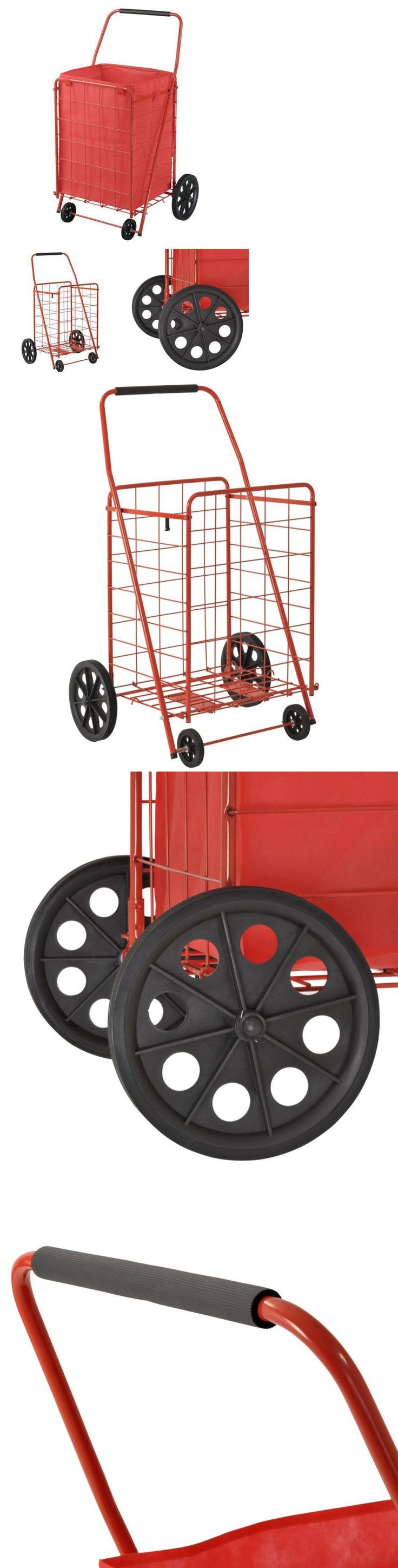 Housekeeping and Organizing 56140: Shopping Grocery Cart + Liner Laundry Basket Folding Wheels Foldable Portable -> BUY IT NOW ONLY: $49.99 on eBay!