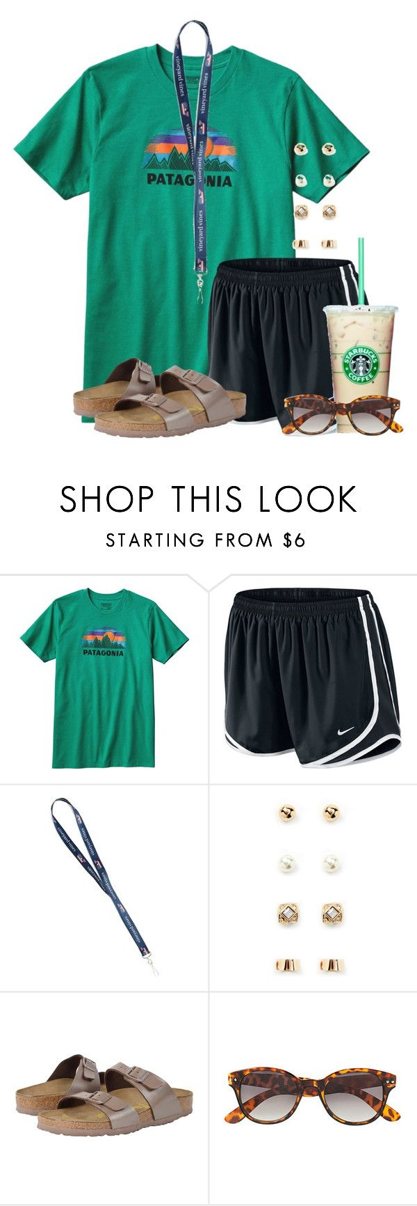 """""""Now I want a cookie:)"""" by flroasburn ❤ liked on Polyvore featuring Patagonia, NIKE, Forever 21, Birkenstock and H&M"""