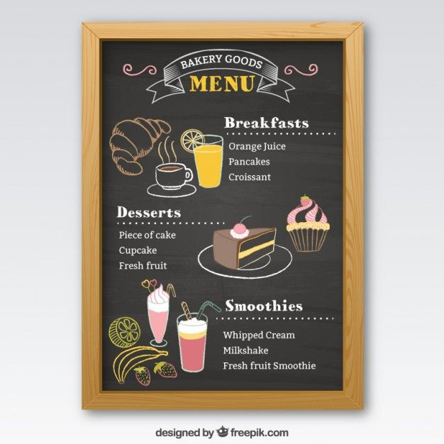 Pizarra de menú de panadería Vector Premium