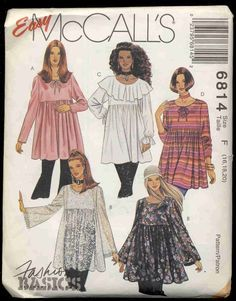 plus sized tunic patterns   MCalls 6814 Plus Size Tunic Length Smock top Pattern by bellaloona