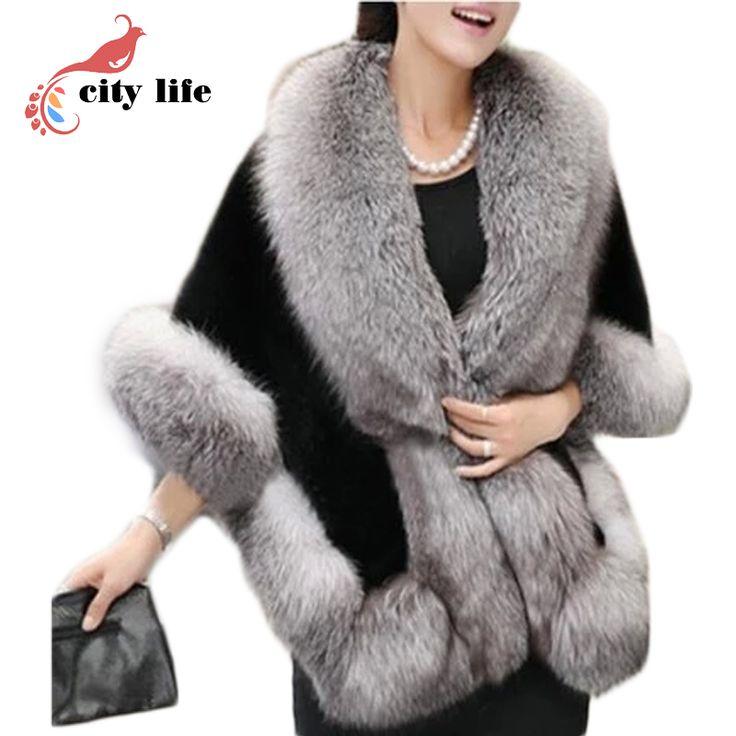 4色の女性マント フェイクミンク毛皮ビッグポンチョ 2015新しい毛皮の襟ウール ケープ コート casacos femininos(China (Mainland))