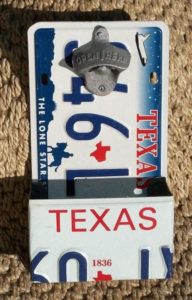 License Plate Bottle Opener w/ Catcher made from by PopArtPlates. Built one for the deck and love it.