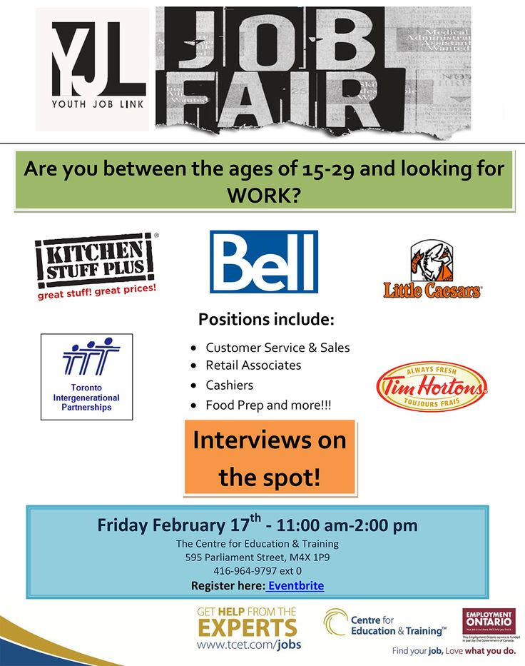 Do you live in Toronto and are between the ages of 15 and 29? Are you looking for work? Don't miss the Youth Job Link job fair on Friday Feb 17th, 11am - 2pm at #TCET_Parliament. Bring your resume and get interviewed on the spot! Positions include Customer Service, Retail Associate, Cashier, Food Prep, and more. See you there! #T_C_E_T