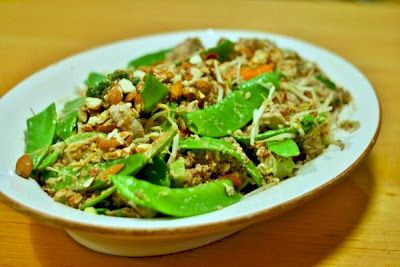 Chicken and red rice salad with sesame dressing