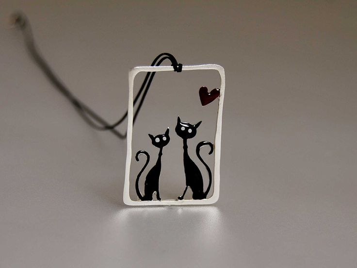 My Other Cat Lovers Pendant Sterling Silver Frame Cute Animal Couple Whimsical Design Black Cord Valentines Day Heart Enamel Love Couples