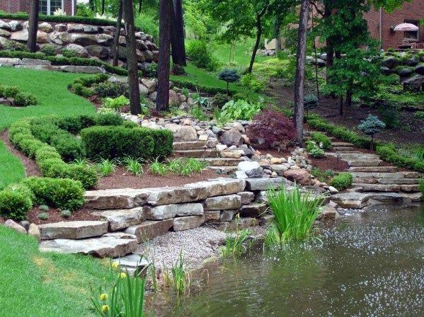 Top 50 Best Slope Landscaping Ideas Hill Softscape Designs Large Backyard Landscaping