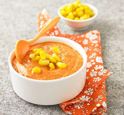 Recette purée poivron poulet pour bébé. Plus de recettes pour bébé sur www.enviedebienmanger.fr/idees-recettes/recettes-pour-bebe