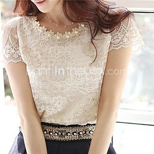 Women's Cute Beaded Neck Embroidered Lace and Mesh Top - USD $7.99