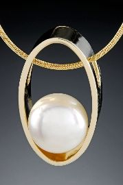 Pearl Pendant 14kt yellow gold design with 8.5 mm Pearl. Style # 736765AG $1,500