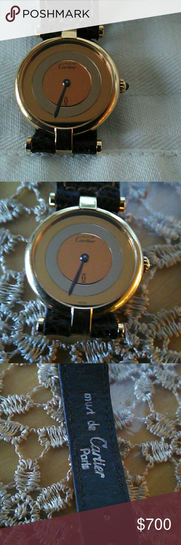 Stunning vintage Cartier ladies watch In very good working condition New battery works great  Original leather band Sapphire stone on crown  Three tone color dial Minor scratch on lens that can be polished Please see pix 100% authentic Cartier Other