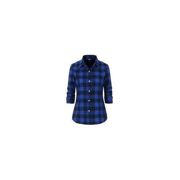 Benibos Women's Check Flannel Plaid Shirt ❤ liked on Polyvore featuring tops, blue checkered shirt, plaid shirts, plaid flannel shirt, plaid button up shirts and blue top