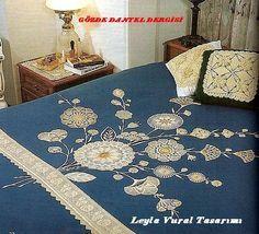 dantel ve kumaştan yatak örtüsü